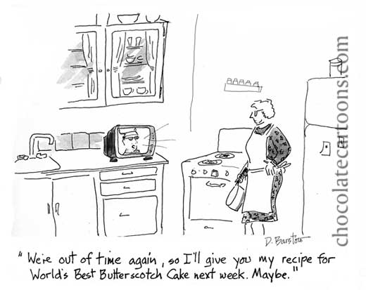 cartoon of chef on cooking show announces that he won't give the cake recipe until next week...or maybe not at all